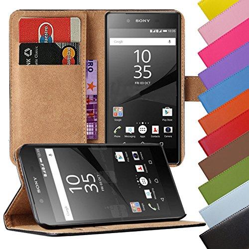 Eximmobile - Book Case Handyhülle für Sony Xperia M5 in Schwarz mit Kartenfächer | Schutzhülle aus Kunstleder | Handytasche als Flip Case Cover | Handy Tasche | Etui Hülle Kunstledertasche