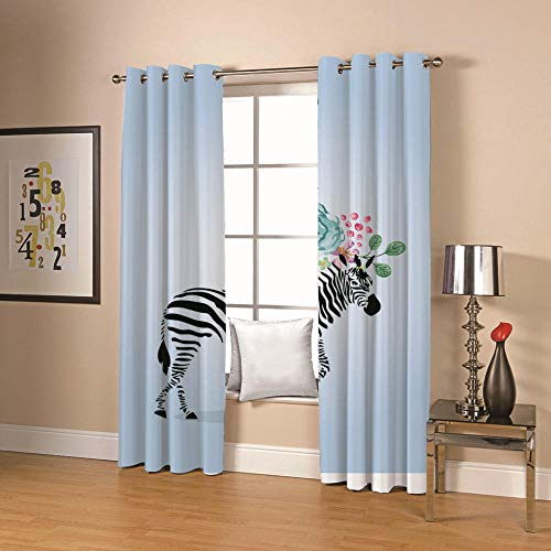 QHDIK Printed Kids Curtains 3D Zebra and flowers eyelet curtains Childrens Finished Curtain Thermal Insulated Blackout Window Curtains For Bedroom Nursery 2x 30 x 65 inch(Width x Height)
