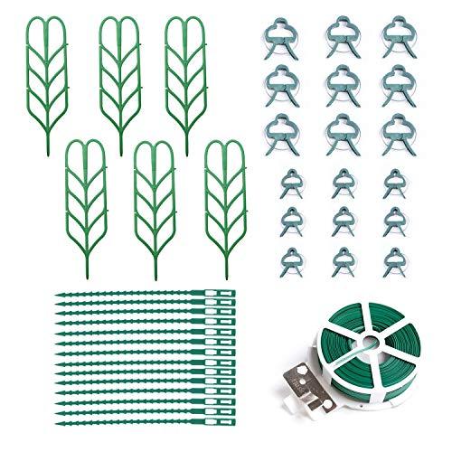 Gosear Paquet de treillis pour plantes d'intérieur Pack 6 supports de forme de feuille de jardin d'escalade + 18 clips + 12 attaches zippées + attache torsadée de 20 m pour les plantes en pot