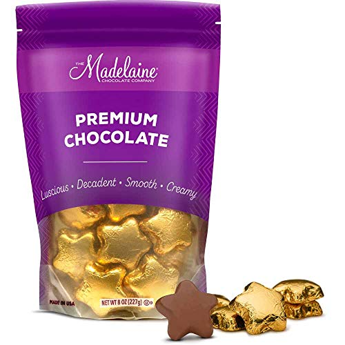 Madelaine Solid Premium Milk Chocolate Stars, Wrapped In Italian Foil