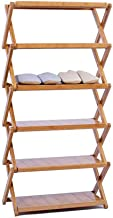 Household Folding Shoe Rack Solid Wood Storing Bracket Multi-Tier Standing Shelf Storage Space Saving Shelf Unit Bamboo Si...