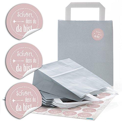 Logbuch-Verlag 24 grau silber rosa SCHÖN DASS DU DA BIST Papiertüte Aufkleber Geschenktüte give-away Weihnachten Dankeschön Geschenk Verpackung