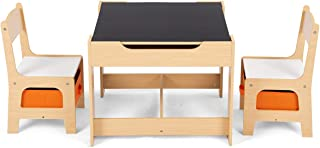 Costway Table et Chaises pour Enfants Ensemble Table et Chaises en MDF avec Espace de Rangement