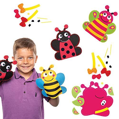"Baker Ross Handpuppen-Nähsets ""Käfer"" Set mit Schmetterling, Biene, Marienkäfer Packung mit 3 AT618"