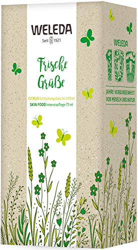 WELEDA Frühlingsset Citrus / Skin Food 2021 - Naturkosmetik Geschenk Set bestehend aus Citrus Erfrischungsdusche und Skin Food Haut Creme. Optimal zur täglichen Pflege von Gesicht, Körper und Händen