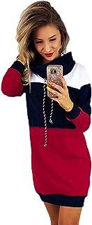 Robes Sweat-Shirt Robe Sweat /à Capuche Femmes /à Manches Longues Robe /à Capuche Pull-Over Robe Pull Hoodies Sweat-Shirts Sweat L/âche Blouse Pullover Jupe Mi-Longue Couleur Unie Sport Casual WINJIN