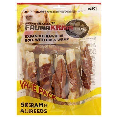 Mit Ente eingewickelte Rohhautröllchen, Kausnack für Hunde Aller Größen und Altersgruppen. 500g Value Pack