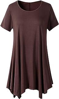 TIFIY Donna Camicie Orlo Irregolare Cime Manica Corta o Collo Maglietta Allentata Fluida Tinta Unita T-Shirts