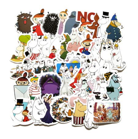 TTBH Mini Hand Account Cartoon Lovely Moomin Stickers Waterproof Laptop Motorcycle Luggage Fridge  Sticker 2-3Cm 40Pcs