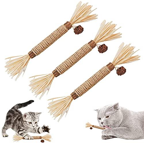 3 Stück Katzenminze Sticks,Katzensticks Zur Zahnreinigung,Kausticks für Katzen,Katzenminze Sticks Bio,Katzen Zahnpflege Spielzeug,Kausticks Set,Katzen Sticks,Cat Chewing Toy,Spielzeug für Katzen
