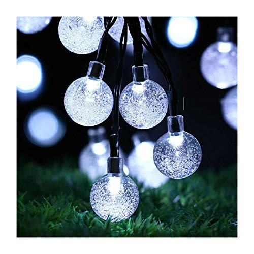 Cool White 21ft Outdoor String Lights - 30 LED Solar Bulb Patio Party Yard Garden Wedding | Closset Org