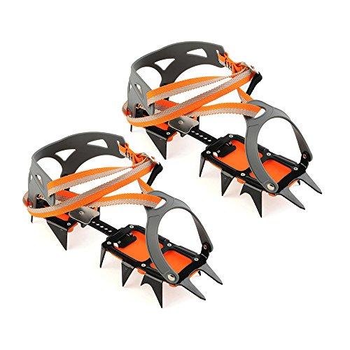 Docooler 14 Puntos Pinzas Dentadas Crampones Escalada en Hielo de Acero al Manganeso Crampón Dispositivo de Tracción (Naranja)