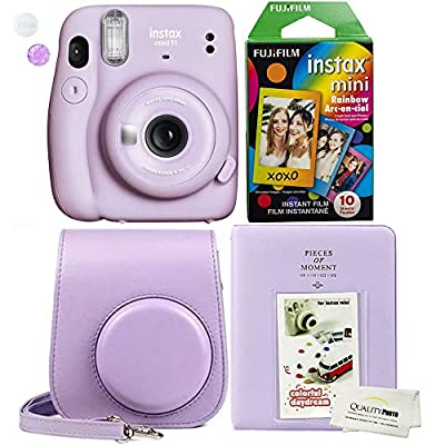 Fujifilm Instax Mini 11 Lilac Purple Instant Camera Plus Case, Photo Album and Fujifilm Character 10 Films (Rainbow)
