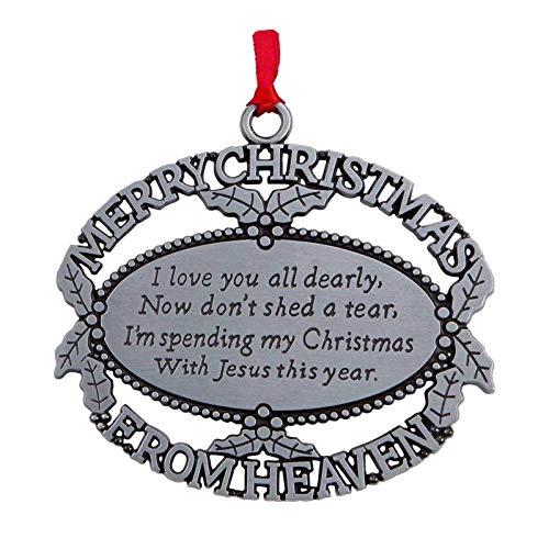 D/L Adorno de Feliz Navidad en el Cielo, Adorno conmemorativo de Recuerdo con Poema, Adornos de Metal para Recuerdo de Navidad para Colgar en el árbol para Recordar la pérdida de Familiares