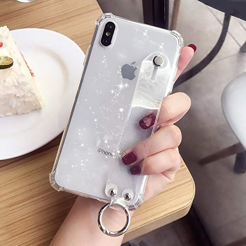 Glitter Powder Holder Phone Case For iPhone 12Pro 11 X XR XS MAX 7 8 Plus Transparent Soft TPU Wrist Strap Shockproof Back Cover,B,White,For iPhone 11Pro MAX