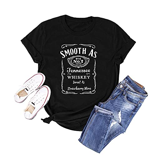 Anbech Womens Whisky Vintage Shirts Country Music Funny Quote Tees Short Sleeve Casual Tops (Black, Large)