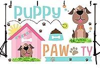 新しいかわいい子犬の誕生日パーティーの写真ブースの背景の小道具は、ケーキテーブル用品7x5ftの足の犬のペットの子犬の足の写真の背景バナーをしましょう