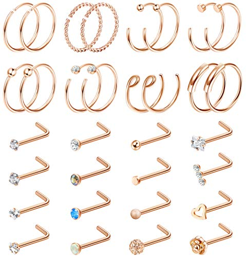 Milacolato 32 Pieces L-Shaped Hoop Tragus Nose Studs C-Shaped Nose Ring Bone Curved Hoop Tragus Cartilage Hoop Piercing
