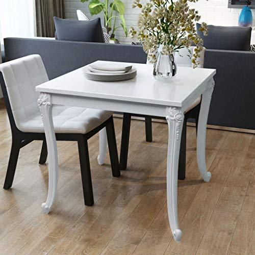 vidaXL Table de Salle à Manger Cuisine 80 x 80 x 76 cm Laquée Blanche