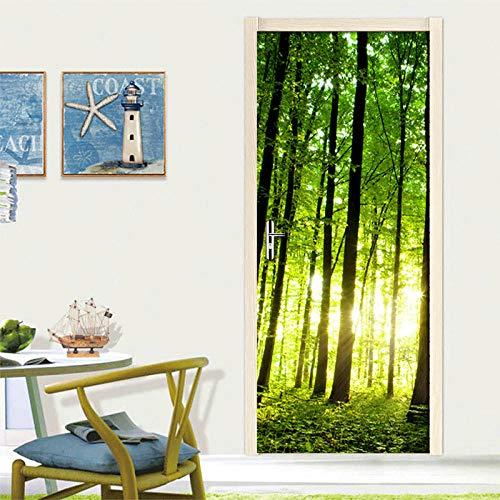 YQLKD Puerta Pegatina Pared Murales Green Forest Tree 3D Photo Mural Wallpaper Puerta Rollo De Papel Tapiz