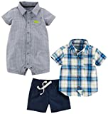 Simple Joys by Carter's Baby Boys' Infant 3-Piece Playwear Set, Chambray/Blue Plaid, 24 Months