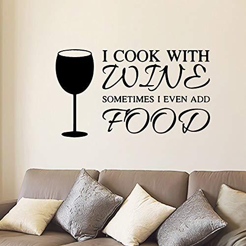 Nuevas citas cocinar con vino cocina pared arte pegatina calcomanía para habitación de niños sala de estar decoración del hogar calcomanías artísticas A5 30x52cm