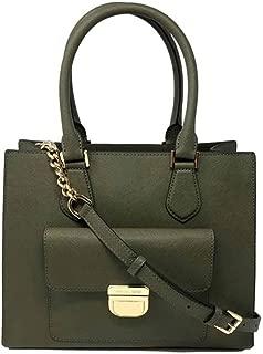 Bridgette Olive Saffiano Leather Medium Tote Bag