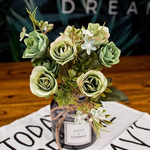 gaibian 5 stücke 10 Kopf künstliche Seide Tuch gefälschte Blumen Blatt Pfingstrose floral Home Hochzeit wohnkultur Blauer Tee Rose Kleiner strauß
