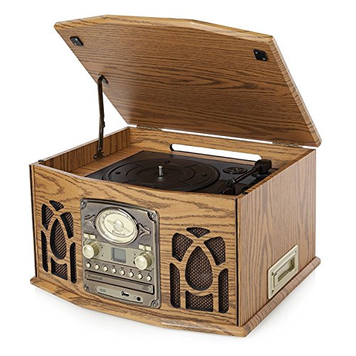 iTek I60019 5-in-1 Classic Music System, Traditional Style, CD Casette...