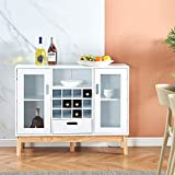 HomeSailing Modern Sideboard Kitchen Cupboard with Wine Rack Buffet Wood Storage Sideboard with 2 Drawers and Doors Utility Storage Display Cabinet for Living Room Dining Room