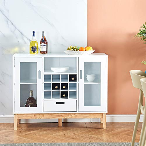 2 Doors Kitchen Sideboard Buffet Wooden Storage Cabinet Console Table with Drawers Shelves for Dining Room, Floor Freestanding Modern 9 Wine Cubes Unit Storage Cupboard Home Office (39inches White)