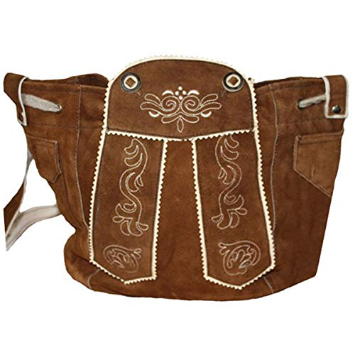 German Wear Damen Trachtentasche Dirndl Taschen Trachten ledertasche in der 4x Farben, Farbe:Kastanienbraun