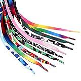 GARNECK 20 Piezas de Cordones de Zapatos de Colores Planos Arcoiris para Equipos Zapatillas de Deporte Zapatos de Skate Botas Y Calzado Deportivo