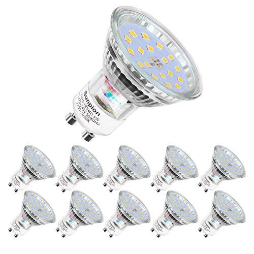 Ampoules LED GU10, 5W équivalent 60W, 600lm, Blanc Chaud 2700K, 120° Larges Faisceaux, Ampoules LED Spot, Lot de 10