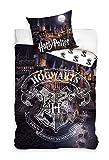 HarryPotter Parure de lit Hogwarts 100% Coton - Housse de Couette Réversible 140x200 cm + Taie 63x63 cm