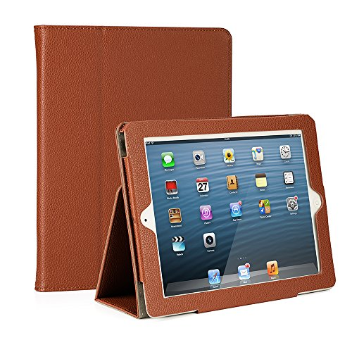 RUBAN Folio Case for iPad 2 3 4 (Old Model) 9.7 inch Tablet - [Corner Protection] Slim Fit Smart Stand Protective Cover Auto Sleep/Wake, Brown