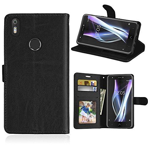 BQ Aquaris X/X Pro Hülle, SATURCASE Glatt PU Lederhülle Magnetverschluss Flip Brieftasche Handy Tasche Schutzhülle Handyhülle Hülle mit Standfunktion für BQ Aquaris X/X Pro (Schwarz)