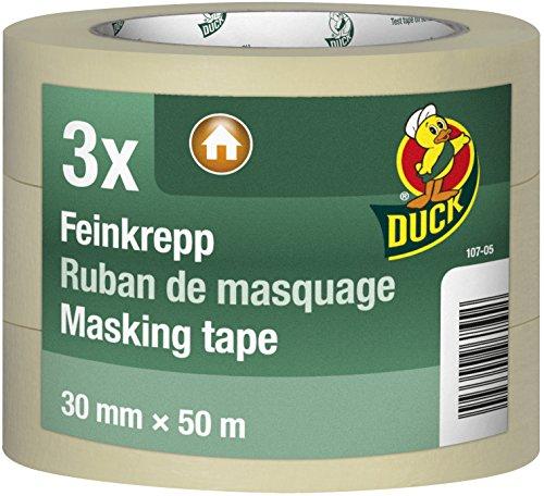 DUCK Feinkrepp 107-05 – Imprägniertes Kreppband zum Streichen & Lackieren – Malerkreppband für den Innenbereich – 3er Set 30mm x 50m