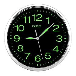OCEST Night Light Wall Clock, 12 Inches Clock with Silent Non-Ticking Glowing for Bedroom, Large Number Battery Operated
