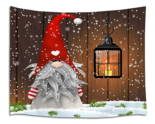 LB Christmas Gnome Tapestry Xmas Elf Santa Tapestry Wall Hanging Winter Snowflake Tapestry Rustic Wood Pine Snow Scene Tapestry for Bedroom Living Room Dorm Decorations Wall Art Decor 60x40 inch