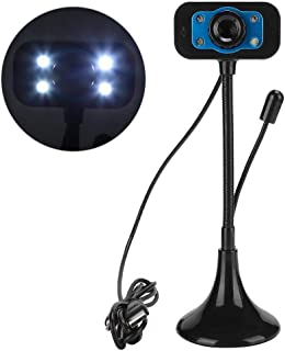 Eboxer Webcam 480P, Long Pole HD PC Camera with 4 Pcs LED Light, Built-in Microphone,12.0M Pixels, 360° Rotating for Computer Laptop Desktop, Plug and Play for YouTube Video Broadcasting