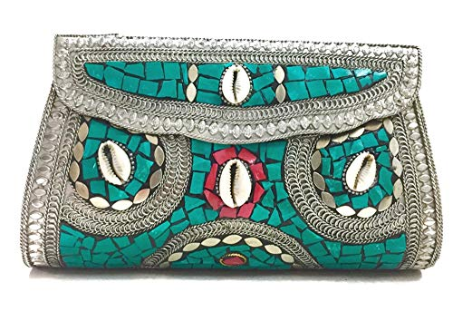 Gauri Kodi de piedra verde Mujeres/Niñas Bolso de fiesta de embrague nupcial Bolsa de metal de mosaico Embrague étnico antiguo Embrague de fiesta de monedero indio