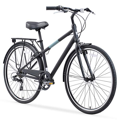sixthreezero Reach Your Destination Men's Hybrid Bike with Rear Rack, 28 Inches, 7-Speed, Matte Black