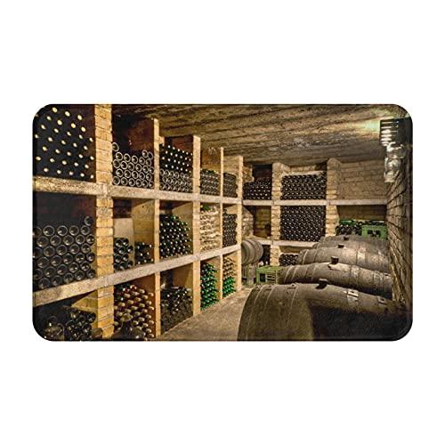 Dachangtui Alfombras de baño decoración de la habitación, imágenes de Barril de Roble de Botella de Vino Tinto, Alfombrillas duraderas y Suaves con Antideslizante
