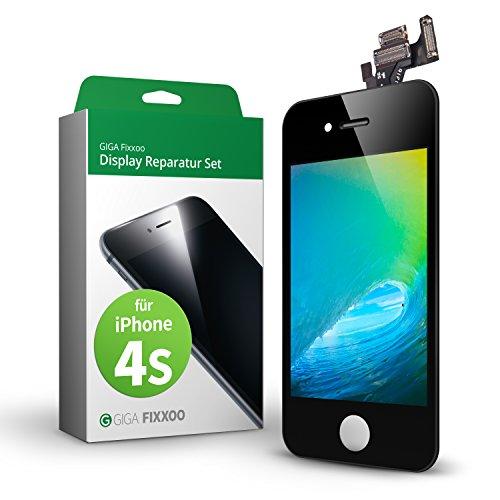 GIGA Fixxoo Kit di Ricambio per Schermo di iPhone 4s, Completo con LCD Nero, Touch Screen Display Retina in Vetro, Fotocamera e Sensore di Prossimità - Guida per Riparazione Facile & Veloce