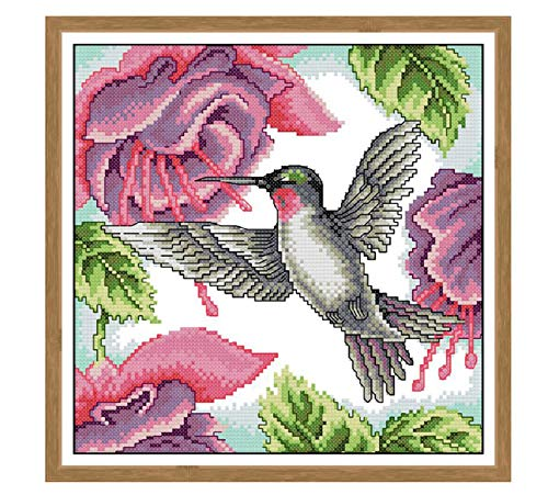 Dimensions Counted Cross Stitch Kits Full Range of Embroidery Patterns Starter Kits for Beginners Adult or Kids DIY Cross Stitches Needlepoint Kits (Hummingbirds 13.8×13.8 inch)