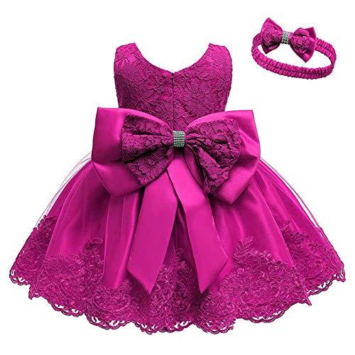 Cichic Baby Mädchen Kleid Taufkleid Spitze Prinzessin Kleid Tutu Kleid Mädchen Festlich Hochzeit Geburtstag Partykleid Blumenmädchenkleid Festzug Babybekleidung (3-6 Monate, Rose)