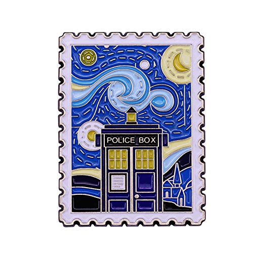Van Gogh Noche Estrellada -Whooo Police Box Esmalte Pin película y Pintura Insignia de Arte