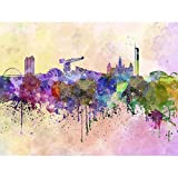 Wee Blue Coo Painting Illustration Cityscape Paint Splash