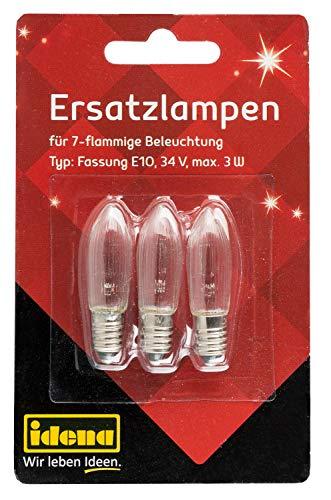 Idena 85820693 - Stück Ersatzlampen für Lichterbogen mit 7 Kerzenlichtern in warm Weiß, 34 V, Maximal 3W, Schraubgewinde mit Fassung E10, Weihnachten und Advent